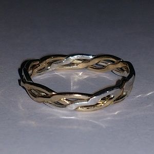 Sterling silver and 12 karat gold f. braided ring